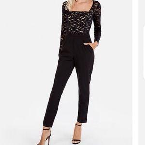 Express black Lace long sleeve jumpsuit #3435